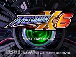 Title screen of Mega Man X6 on the Sony Playstation.