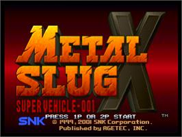 Title screen of Metal Slug X: Super Vehicle - 001 on the Sony Playstation.