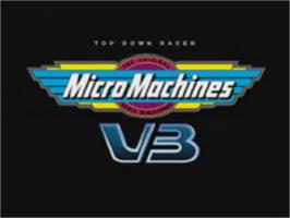 Title screen of Micro Machines V3 on the Sony Playstation.
