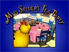 Title screen of Miss Spider's Tea Party on the Sony Playstation.