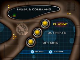 Title screen of Missile Command on the Sony Playstation.