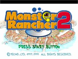 Title screen of Monster Rancher 2 on the Sony Playstation.