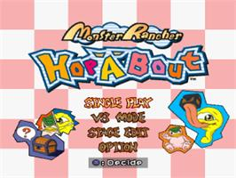 Title screen of Monster Rancher Hop-A-Bout on the Sony Playstation.