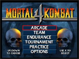 Title screen of Mortal Kombat 4 on the Sony Playstation.