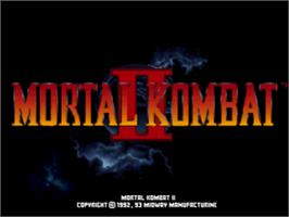 Title screen of Mortal Kombat II on the Sony Playstation.