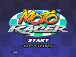 Title screen of Moto Racer on the Sony Playstation.