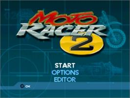 Title screen of Moto Racer 2 on the Sony Playstation.