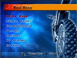 Title screen of Motocross Mania on the Sony Playstation.