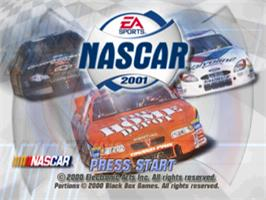 Title screen of NASCAR 2001 on the Sony Playstation.