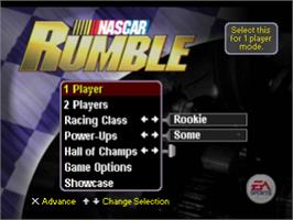 Title screen of NASCAR Rumble on the Sony Playstation.