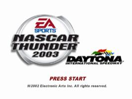 Title screen of NASCAR Thunder 2003 on the Sony Playstation.