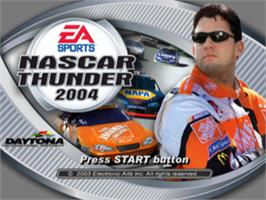 Title screen of NASCAR Thunder 2004 on the Sony Playstation.