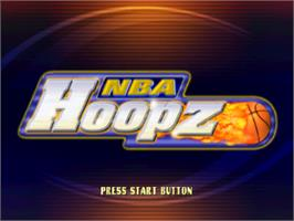 Title screen of NBA Hoopz on the Sony Playstation.