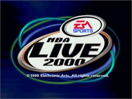 Title screen of NBA Live 2000 on the Sony Playstation.