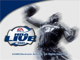 Title screen of NBA Live 2001 on the Sony Playstation.