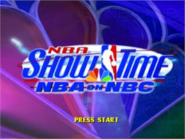 Title screen of NBA Showtime: NBA on NBC on the Sony Playstation.