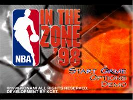 Title screen of NBA in the Zone '98 on the Sony Playstation.