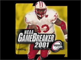 Title screen of NCAA GameBreaker 2001 on the Sony Playstation.
