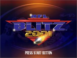 Title screen of NFL Blitz 2001 on the Sony Playstation.