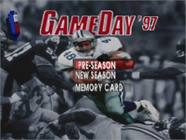 Title screen of NFL GameDay '97 on the Sony Playstation.