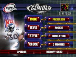 Title screen of NFL GameDay 2000 on the Sony Playstation.