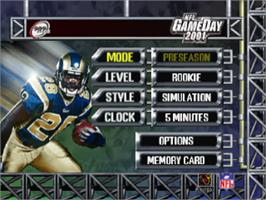 Title screen of NFL GameDay 2001 on the Sony Playstation.