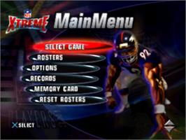 Title screen of NFL Xtreme on the Sony Playstation.