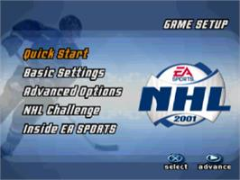 Title screen of NHL 2001 on the Sony Playstation.