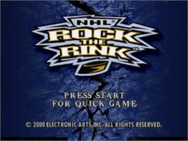 Title screen of NHL Rock the Rink on the Sony Playstation.