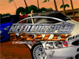 Title screen of Need for Speed: V-Rally on the Sony Playstation.