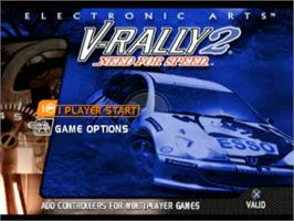 Title screen of Need for Speed: V-Rally 2 on the Sony Playstation.