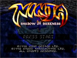 Title screen of Ninja: Shadow of Darkness on the Sony Playstation.