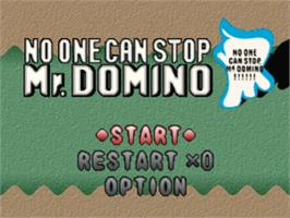 Title screen of No One Can Stop Mr. Domino on the Sony Playstation.