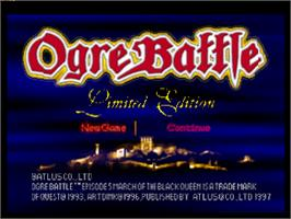 Title screen of Ogre Battle on the Sony Playstation.