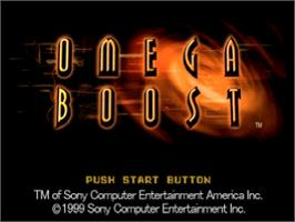 Title screen of Omega Boost on the Sony Playstation.