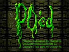 Title screen of PO'ed on the Sony Playstation.
