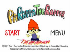 Title screen of PaRappa the Rapper on the Sony Playstation.