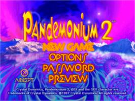 Title screen of Pandemonium! on the Sony Playstation.