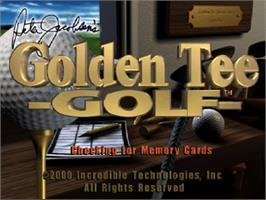 Title screen of Peter Jacobsen's Golden Tee Golf on the Sony Playstation.