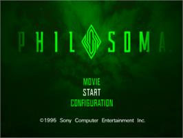 Title screen of Philosoma on the Sony Playstation.