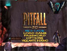 Title screen of Pitfall 3D: Beyond the Jungle on the Sony Playstation.