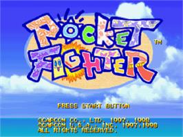 Title screen of Pocket Fighter on the Sony Playstation.