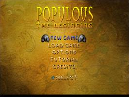 Title screen of Populous: The Beginning on the Sony Playstation.