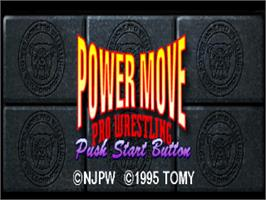Title screen of Power Move Pro Wrestling on the Sony Playstation.