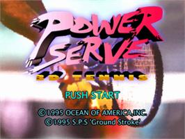 Title screen of Power Serve 3D Tennis on the Sony Playstation.