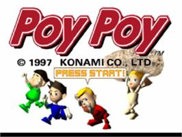Title screen of Poy Poy on the Sony Playstation.