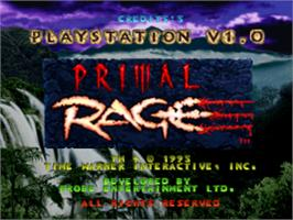 Title screen of Primal Rage on the Sony Playstation.