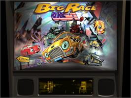 Title screen of Pro Pinball: Big Race USA on the Sony Playstation.
