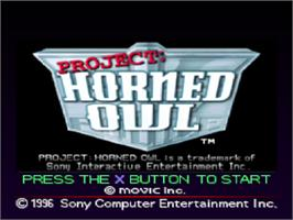 Title screen of Project: Horned Owl on the Sony Playstation.
