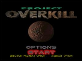 Title screen of Project Overkill on the Sony Playstation.